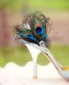Fancy Peacock Duo & Teal / Turqoise Shoe Clips. Winter Couture Bride Bridesmaid, Chic Bridal Maid of Honor Gift, Silver Gem, Girlfriend BFF