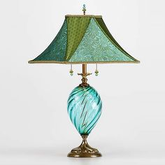 Jennifer by Susan Kinzig and Caryn Kinzig - (Mixed-Media Table Lamp) Jennifer by Susan Kinzig and Caryn Kinzig. Table lamp with vibrant teal blown glass. Sally Jones custom designed silk fabrics, juxtaposed on a square frame. Media Table, Bright Homes, Bedroom Lamps, Unique Lamps, Unique Lighting, Lamp Design, Design Table, Chandeliers, Lampshades