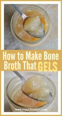 How to Make Bone Broth That Gels Whole 30 Recipes, Soup Recipes, Whole Food Recipes, Dog Food Recipes, Cooking Recipes, Cooking Tips, Making Bone Broth, Homemade Bone Broth, Recipes