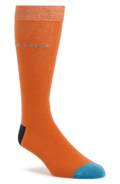 Men's Ted Baker London Colorblock Socks - Orange