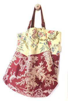 Très grand sac cabas réversible tissus tapissiers lin