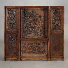 A Three-Panel Rosewood Screen #asianart #michaans http://www.michaans.com/highlights/2015/highlights_04112015.php