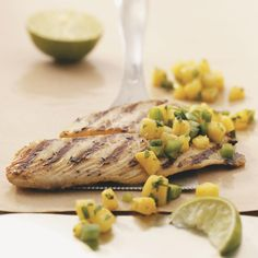 Grilled (or Broiled) Tilapia with Pineapple Salsa for 2 - Use 6-oz. fillets, olive oil, red onion and red bell pepper to make this delicious dish for I-Burn.