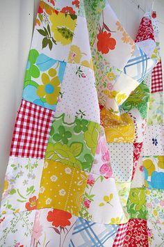 Vintage sheet patchwork quilt top