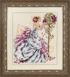 Roses of Provence - Mirabilia Cross Stitch Pattern. Model stitched on 32 Ct. White Chocolate linen with DMC floss, Kreinik #4 Braid, Mill Hill beads, and Mill H