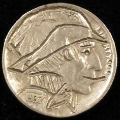 J. ALLEN HOBO NICKEL - SMOKING MAN* - 1937 BUFFALO PROFILE Hobo Nickel, Buffalo, Classic Style, Smoking, Coins, Carving, Profile, User Profile, Rooms