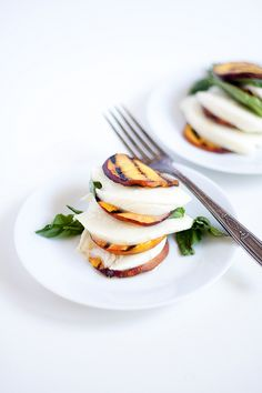 Grilled peach capres