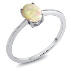 0.51 Ct Oval Cabochon White Ethiopian Opal 10K White Gold Ring