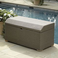 Our Extra Large Castine Storage Bin is hand woven of all-weather rattan over a powder-coated aluminum frame to resist moisture and rust. Garden Furniture, Outdoor Furniture, Outdoor Decor, Outdoor Living, Large Storage Bins, Outdoor Seat Cushions, Pool Toys, Ballard Designs, Rattan