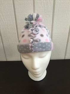 Newborn Girl Hat, Newborn Fleece Hat, Baby Girl Fleece Hat, Baby Girl Gray and Pink Hat, Baby Girl Winter Hat, Baby Girl Patchwork Hat by KozyKiddies on Etsy