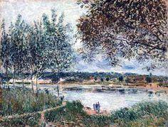 Huile sur toile, peinte en 1880 - Dimensions : 49.8 x 65.1 cm - Tate Gallery, Londres - Le village de By se situe à 6 km au nord-ouest de Moret. Il est relié au village de Veneux par un ...