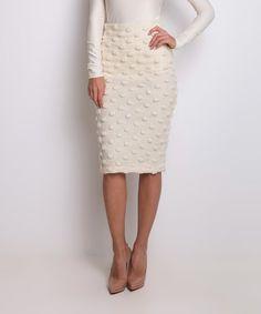 Look at this #zulilyfind! Ivory Sabrina Wool-Blend Skirt #zulilyfinds