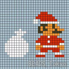 サンタクロースマリオのアイロンビーズの図案です!簡単に作れるようにアイロンビーズの透明プレートLと同じサイズになってます。