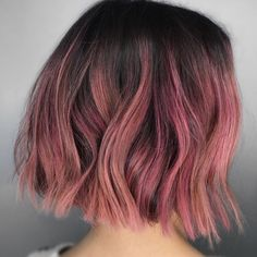 Medium, Beachy Waves with Ombre Highlights - 40 On-Trend Balayage Short Hair Looks - The Trending Hairstyle Hair Color Streaks, Hair Dye Colors, Cool Hair Color, Short Hair Colour, Pink Short Hair, Short Dyed Hair, Black Hair, Short Colorful Hair, Colored Short Hair