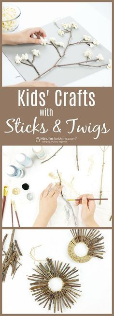 Kids Crafts with Sticks and Twigs - 3 easy crafts for kids that are perfect for fall. Sponsored #Crafts #KidsCrafts
