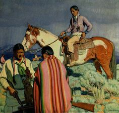 The Rabbit Hunt by E Martin Hennings  Giclee Canvas Print Repro