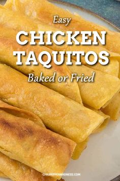 Chicken Taquitos (Baked or Fried) Homemade chicken taquitos that are super flavorful. Corn tortillas are stuffed with spicy chicken and cheese and then fried or baked. An easy and healthy snack or party appetizer. Healthy Appetizers, Appetizers For Party, Appetizer Recipes, Healthy Food, Dinner Recipes, Homemade Taquitos, Taquitos Recipe, Vegaterian Recipes, Mexican Food Recipes