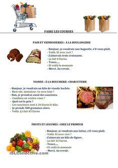 Printing Ideas DIY Simple Way To Learn French Products Referral: 2345193366 Learning French For Kids, French Language Learning, Teaching French, Food In French, French Cafe, How To Speak French, Learn French, French Flashcards, French Worksheets