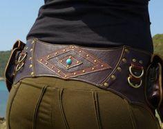 Leather Utility Belt   Handmade Designer Pocket Belt   High Quality Hip Belt   Biker   Urban Gypsy   Burning Man   Festival Fashion  