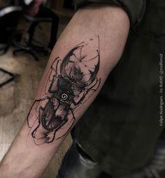 Black and grey ink watercolor beetle by Felipe Rodrigues Fe Rod
