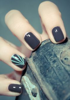 Gorgeous dark grey nails with a turquoise accent. Shop all the best nail care at Walgreens.com.