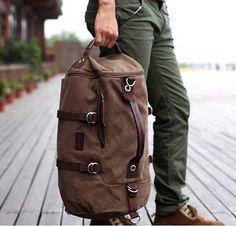 f38067eed52c New Men s Vintage Novelty Brown Canvas Duffel Backpack Camping Gym Shoulder  Bag