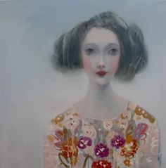 Kristin Vestgard Layers oil on canvas 70 x 70 cm S O L D. Idea - colour print this onto canvas and embroider the dress pattern...