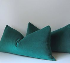 Emerald Green Velvet Pillow - Decorative Pillow Cover - 12 x 22 inch or 14 X 20 inch -  Green velvet - color of the year - made to order on Etsy, $38.00