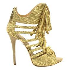 Gianmarco Lorenzi 2013 crystal fringe platform sandal in gold. USD 3,995.00.