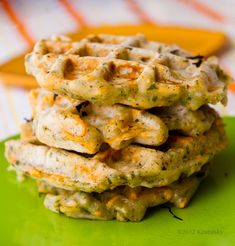 Savory Cheezy Herbed Waffles. YUM, I'd make with real dairy though,  not the gross vegan stuff