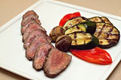 Griled Argentinian beef fillet with grilled vegetables in mint sauce