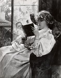 Woman in a pale gown leaning back in an armchair next to a window with a book in her hand