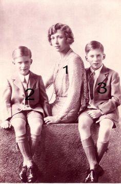 Mary, Princesse royale et ses fils SAR la princesse royale, comtesse de Harewood 1897-1965, fille du roi George V de Grande-Bretagne et d'Irlande...   et ses 2 fils:  3-George Lascelles, 7e comte de Harewood 1923-2011, 46° sur la liste de succession au trône britannique au moment de sa mort  2-L'Hon. Gerald Lascelles 1924-1998