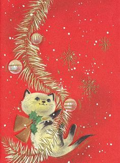 Sweet Vintage Christmas Kitten playing with garland Cat Christmas Cards, Christmas Kitten, Christmas Past, Christmas Animals, Christmas Greetings, Birthday Greetings, Birthday Cards, Vintage Christmas Images, Retro Christmas