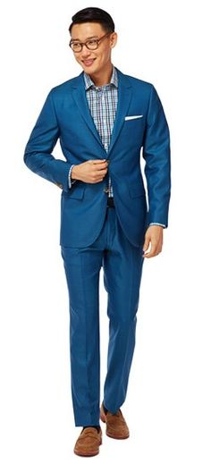 Shake off the winter blues with the Bright Blue Wool Silk Suit. The wool-silk weave gives the fabric a lustrous appearance and soft hand feel that's light and breathable for the warmer days to come.
