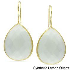 Miadora Goldtone Pear-cut Gemstone Dangle Earrings