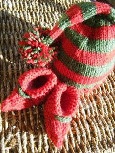 Hand knit Christmas elf hat and booties,