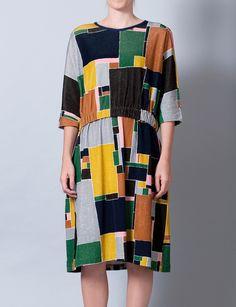 landscape blocks velvet dress