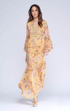 16830194e  VestidoNiza largo estampado floral en gasa con raya satén. Escote bordado  en V.