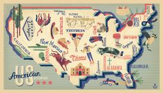 Mike Toth, US American Stories map - Owen Davey Illustration