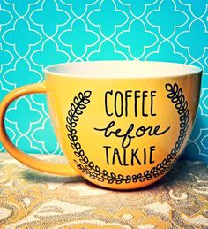 Coffee Mug COFFEE BEFORE TALKIE Large18oz Cheery by WholeWildWorld, $16.00