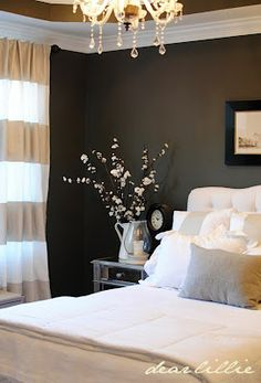 For the bedroom in my new home- dark grey wall bedroom. I love these colors for the guest room