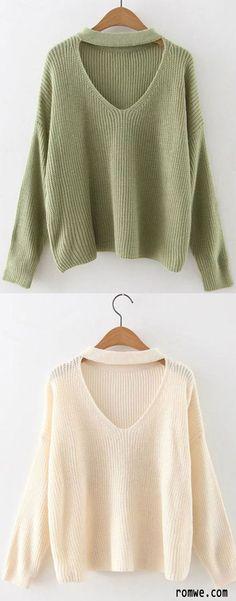 Choker Neck Drop Shoulder Sweater