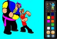 Cartoon Popeyes character Bluto and Popeye paint. #paintinggames #games #coloringgames  http://www.toppaintinggames.com/game/42/Popeye-And-Bluto-Painting.html