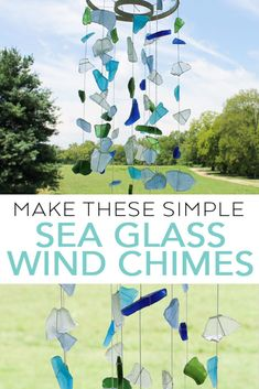 Make these simple sea glass wind chimes with just a few supplies! These beach themed wind chimes are just what your home needs this summer! glass crafts for kids Sea Glass Wind Chimes Craft Wind Chimes Craft, Glass Wind Chimes, Seashell Wind Chimes, Beach Themed Crafts, Beach Crafts, Beach Themed Decor, Beach Theme Garden, Diy Crafts, Garden Crafts