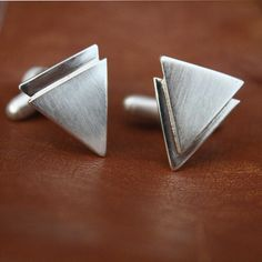 mens cufflinks chevron triangle cufflinks sterling by LolaAndCash