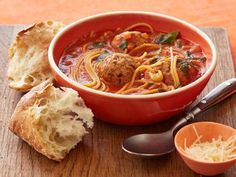 """Spaghetti and Meatball """"Stoup"""" (thicker than soup, thinner than stew) Recipe : Rachael Ray : Food Network Pasta Recipes, Soup Recipes, Cooking Recipes, Casserole Recipes, Beef Recipes, Casserole Ideas, Dinner Recipes, Cooking Gadgets, Food Dinners"""