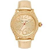 Betsey+Johnson+Watch,+Women's+Metallic+Gold+Leather+Strap+41mm+BJ00019-59