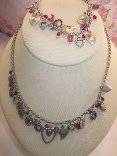 LIA SOPHIA SET, HEARTS, RED/ SILVER, NECKLACE AND BRACELET MATCHING, GORGEOUS #LiaSophia