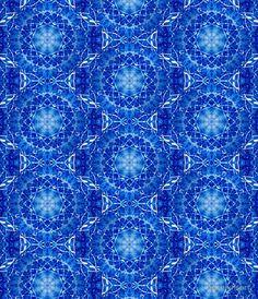 Manganese Jewel Blue White Ornate Celtic Stained Glass Window Round Rosette Mandala Medallion Tile Pattern Skirt